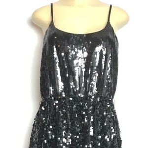 Express Dress Size L Women Black Sequin Spaghetti